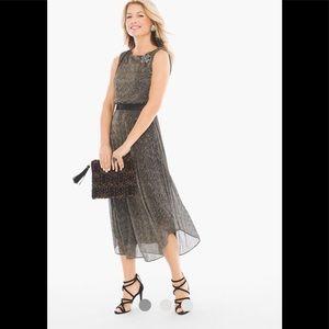 NWT CHICO'S Pleated Split-Back Midi Dress